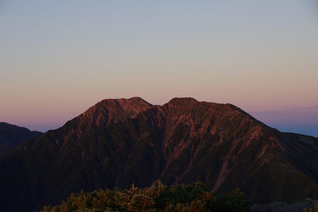 赤石岳 モルゲンロート